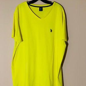 Men US Polo ASSN. V NECK T Shirt Size XL Yellow
